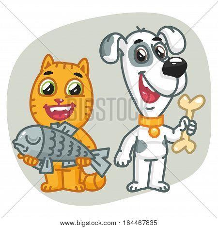 Vector Illustration, Cat Holding Fish Dog Holding Bone, Format EPS 8