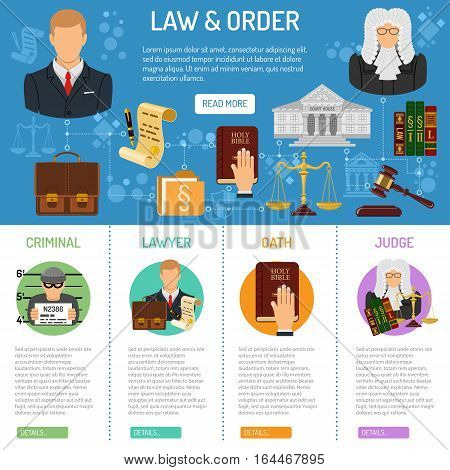 Law and Order infographics with flat icons Lawyer, criminal, oath and judge. vector illustration