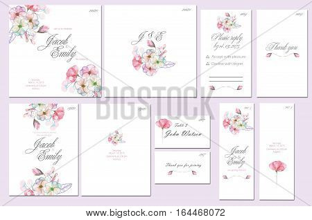 Template cards set with watercolor pink and purple flowers; wedding design for invitation, number, RSVP, Thank you card, for anniversary day