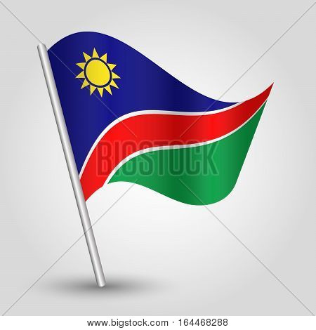 vector waving simple triangle namibian flag on slanted silver pole - icon republic of namibia with metal stick