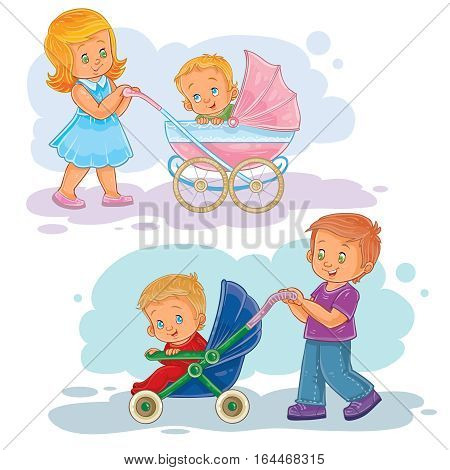 Set of vector clip art illustrations older brother and sister wheeled baby carriage, stroller with kids