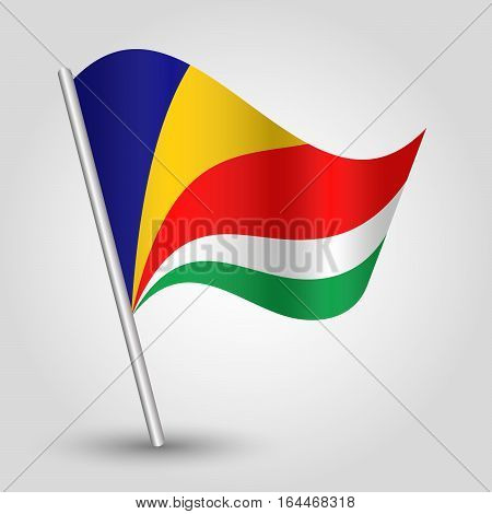 vector waving simple triangle seychelloise flag on slanted silver pole - icon republic of seychelles with metal stick