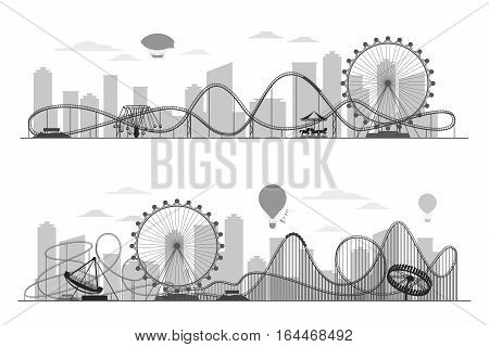 Fun fair amusement park landscape silhouette with ferris wheel, carousels and roller coaster. Festival outdoor with recreational luna park in town illustration poster