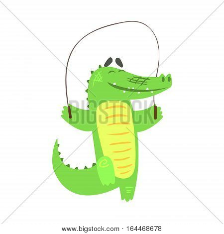 Crocodile Jumping Skipping Rope, Humanized Green Reptile Animal Character Every Day Activity, Part Of Flat Bright Color Isolated Funny Alligator In Different Situation Series Of Illustrations