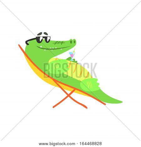 Crocodile Sunbathing On Sunbed With Cocktail, Humanized Green Reptile Animal Character Every Day Activity, Part Of Flat Bright Color Isolated Funny Alligator In Different Situation Series Of Illustrations