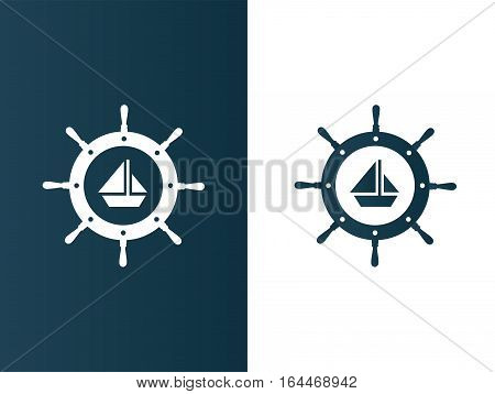 Ship's wheel logo with boat inside set - isolated vector illustration