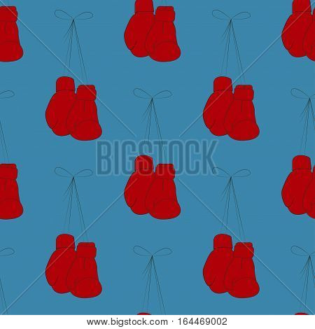 Red boxing gloves on a blue background seamless texture