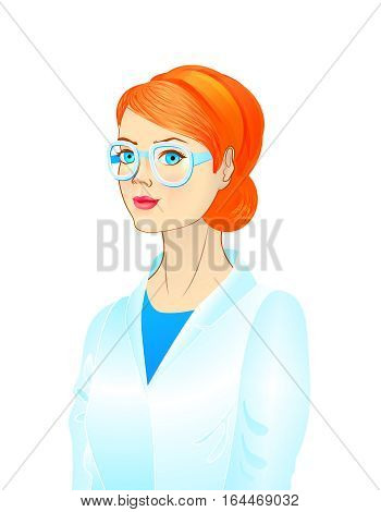 Portrait of a female scientist, young woman wearing glasses, female doctor