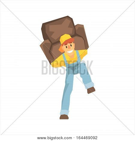 Smiling Strong Worker Carrying An Armchair On His Back, Delivery Company Employee Delivering Shipments Illustration. Part Of Manual Laborer Loading And Bringing Items Cartoon Characters Set.