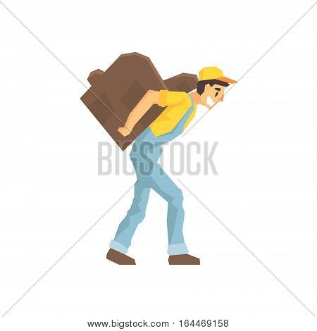 Worker Walking With Amchair On The Back, Delivery Company Employee Delivering Shipments Illustration. Part Of Manual Laborer Loading And Bringing Items Cartoon Characters Set.