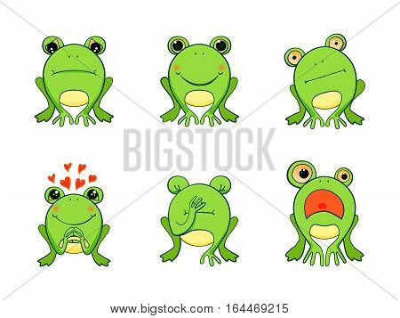 Frog mascot emoticons, smiley face, sad, happy, in love, surprised expressions set. Vector stickers