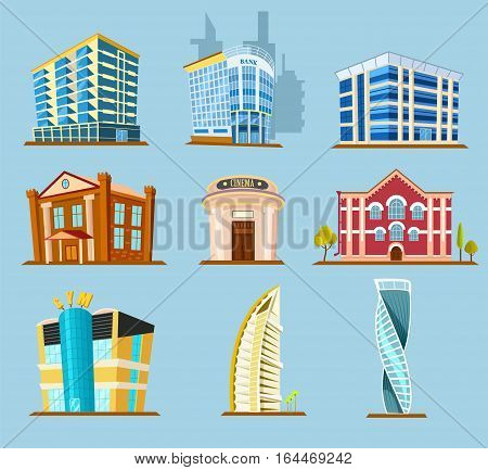 Various buildings exterior construction vector icon. Modern and vintage buildings exterior in cartoon style. Office, shopping center, and other city house exterior. Buildings exterior icon.