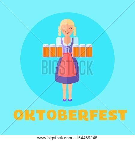 Oktoberfest festival poster or cars design. Happy girl with beer mugs. Modern flat design vector illustration