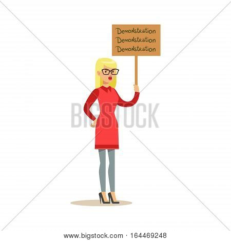 Blond Woman In Red Dress Marching In Protest With Banner, Screaming Angry, Protesting And Demanding Political Freedoms. Citizens On Demonstration Against Establishment Demonstrating Disagreement With Situation.