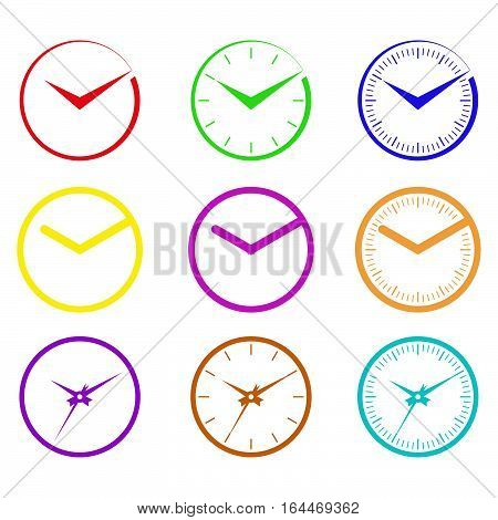 Symbolic images hours of different colors and different shapes of arrows.