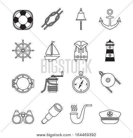 Set of black and white line yachting and sailing icons. Lighthouse, anchor, crank handle,  pulley with ropes, pipe, west, and other icons.
