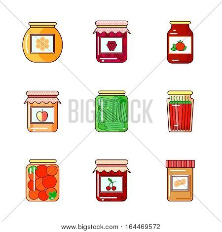 Set of glass jars with honey, homemade jam, marmalade, peppers, pickles, tomatoes, vegetables.