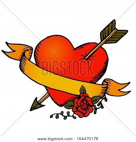 Classic tattoo style vector heart and ribbon with a rose