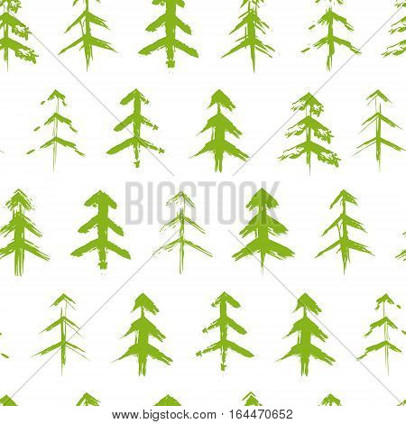 Grungy green  chrismas trees seamless pattern hand drawn design