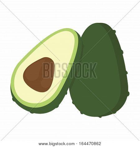 ripe avocado isolated on white vector icon of avocado and cut avocado h
