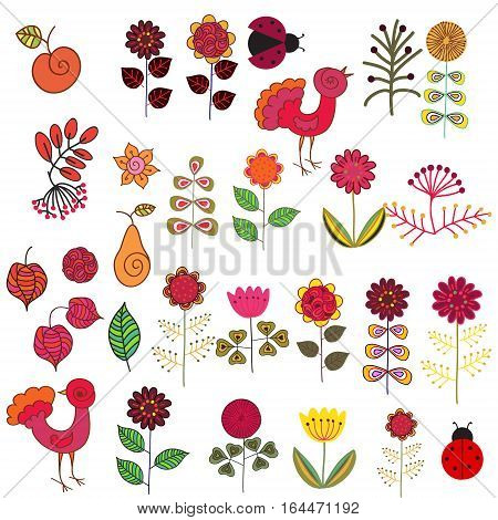 Set of hand drawn flowers and birds