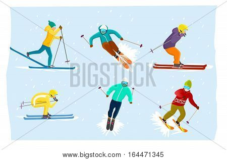 People skiing set isolated vector illustration. Winter extreme sport, outdoor adventure, mountain activities, recreation lifestyle, cold downhill, cross country skiing. Speed skier in protective gear.