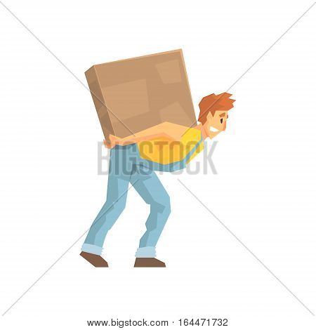 Mover Carrying A Large Box On His Back, Delivery Company Employee Delivering Shipments Illustration. Part Of Manual Laborer Loading And Bringing Items Cartoon Characters Set.
