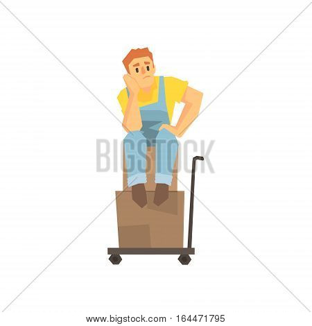 Man Sitting Unhappy On Pile Of Boxes On Cargo Cart, Delivery Company Employee Delivering Shipments Illustration. Part Of Manual Laborer Loading And Bringing Items Cartoon Characters Set.
