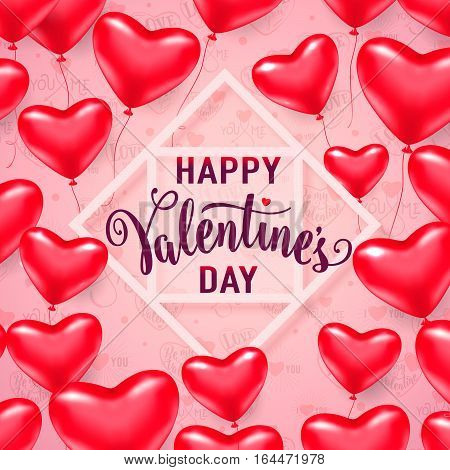 Vector illustration of red heart balloons, white line frame with lettering text sign happy valentines day isolated on light background. Valentines card template for holiday greeting