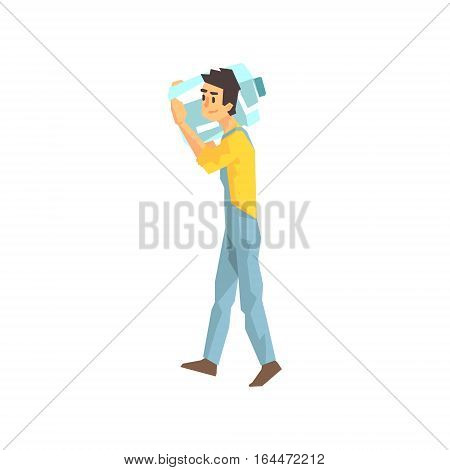 Worker Carrying Large Bottle Of Water For The Office, Delivery Company Employee Delivering Shipments Illustration. Part Of Manual Laborer Loading And Bringing Items Cartoon Characters Set.