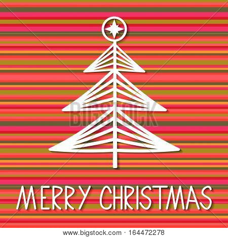 Christmas Tree Paper Greeting Card. Retro vector background