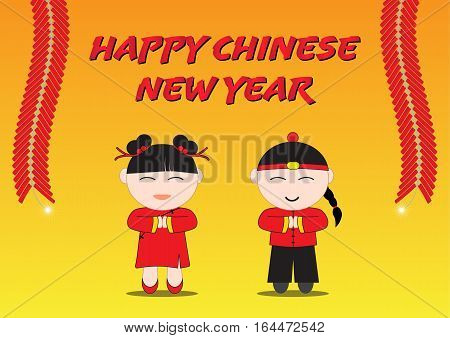 Happy Chinese New Year Boy and Girl with Line of Cracker