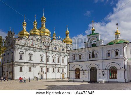 KIEV, UKRAINE - SEPTEMBER 5, 2013: Cathedral with golden domes in the Kiev Pechersk Lavra, Ukraine