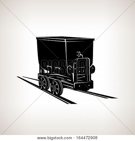 Silhouette coal mine trolley, mining industry, coal mining