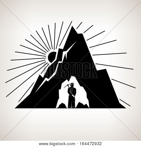 Miner Holding a Pickax in the Bowels of Mountains on a Background the Sunburst, Mining Industry, Black and White Illustration