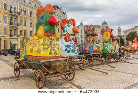 KIEV, UKRAINE - SEPTEMBER 5, 2013: Decorated roosters on carts used for the celebration of Ukraines independence day