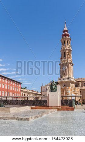 ZARAGOZA, SPAIN - JUNE 2, 2010: Tower of the Seo Cathedral in Zaragoza, Spain