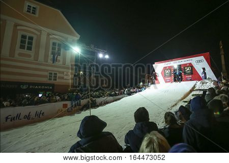 ZAGREB, CROATIA - JANUARY 4th, 2017 : Ski race of overall winners of the FIS World Cup on the ski slope in Bakaceva street, on the road from the cathedral to the main square. Start of the ski race.