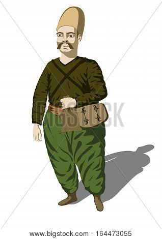Men male caucasian nineteenth century person people full length shirt hat pants medieval merchant with pouch bag. Vector beautiful historical closeup front view illustration isolated white background