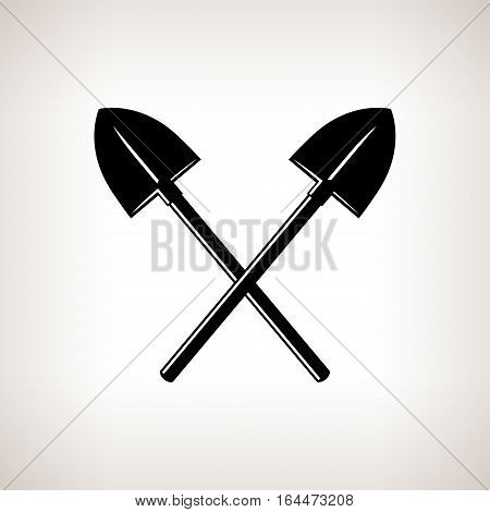Silhouette of a Crossed Shovels on a Light Background, a Tool for Digging,Black and White Illustration