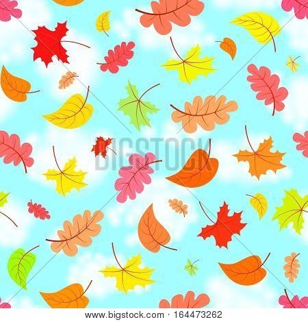 Falling leaves across the blue sky, colorful seamless pattern, vector illustration
