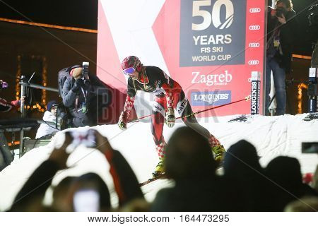 ZAGREB, CROATIA - JANUARY 4th, 2017 : Ski race of overall winners of the FIS World Cup on the ski slope in Bakaceva street, on the road from the cathedral to the main square. Janica Kostelic skiing.
