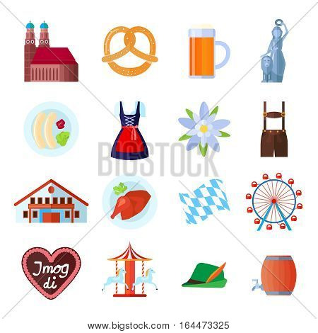 Set of Oktoberfest vector icons: Munich symbols, tent, beer and food, traditional clothing and carousel wheel with Bavarian symbols