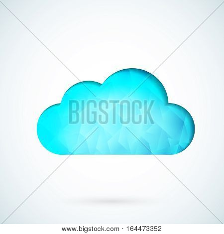 Blue cloud icon symbol geometric vector background