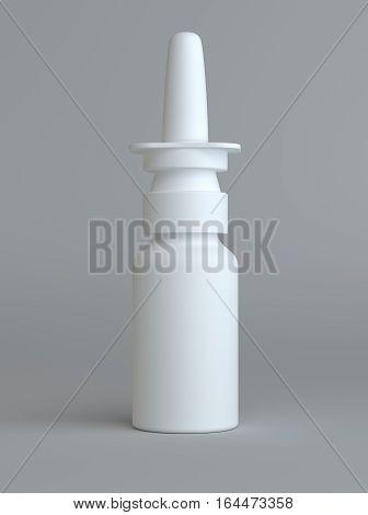 Spray Medical Nasal Drugs Plastic Bottle. Gray background. 3D illustration