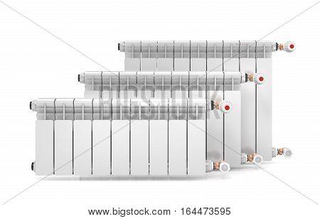 Three heating radiators isolated on white background. 3d illustration