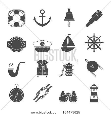 Black and white yachting simple  icons set