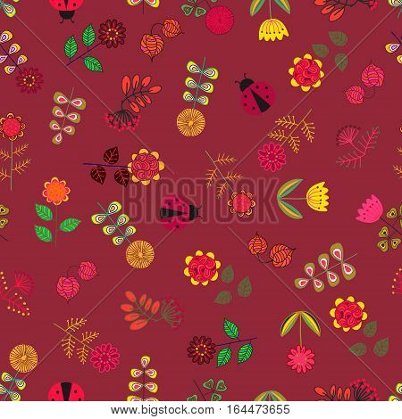 Colorful floral cute hand drawn seamless pattern