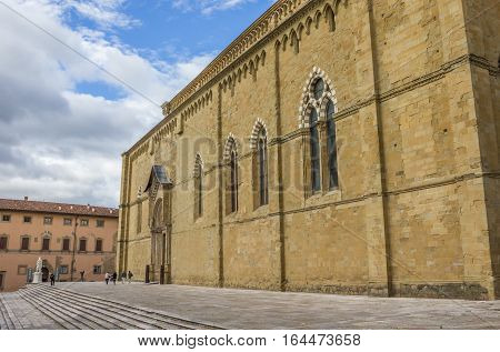 AREZZO, ITALY - SEPTEMBER 1, 2014: San Donato Cathedral in the historical center of Arezzo, Italy
