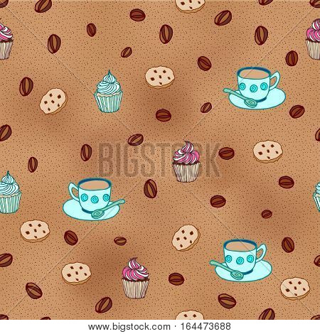 Coffee beans, cookies  and cupcakes  seamless pattern